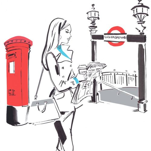 Lady reading a newspaer - Line art design