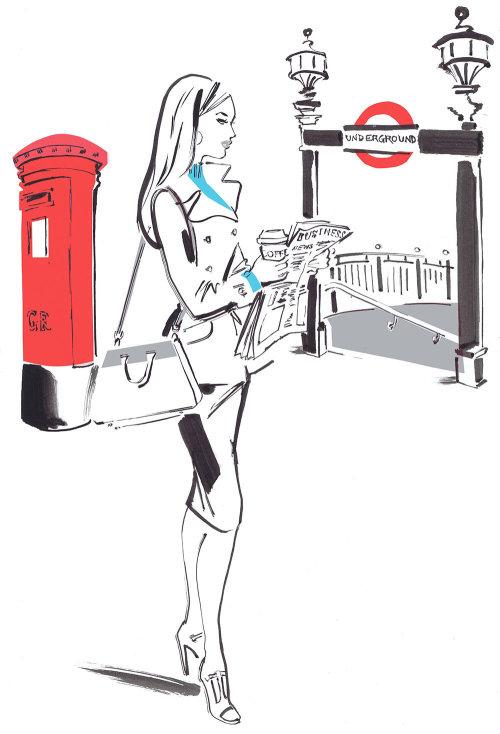 Dame lisant un journal - Dessin au trait