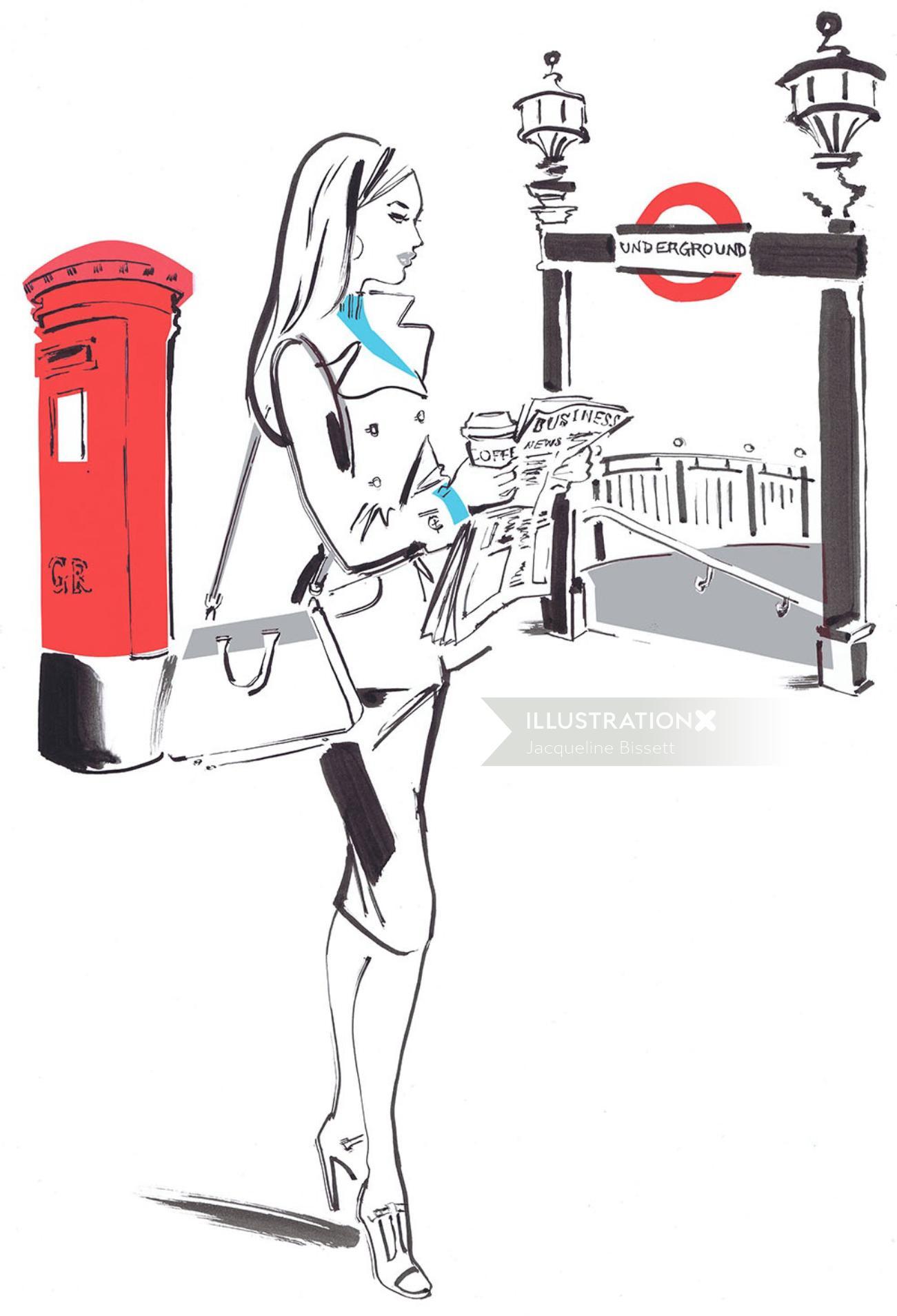 Lady reading a newspaer - Line art design