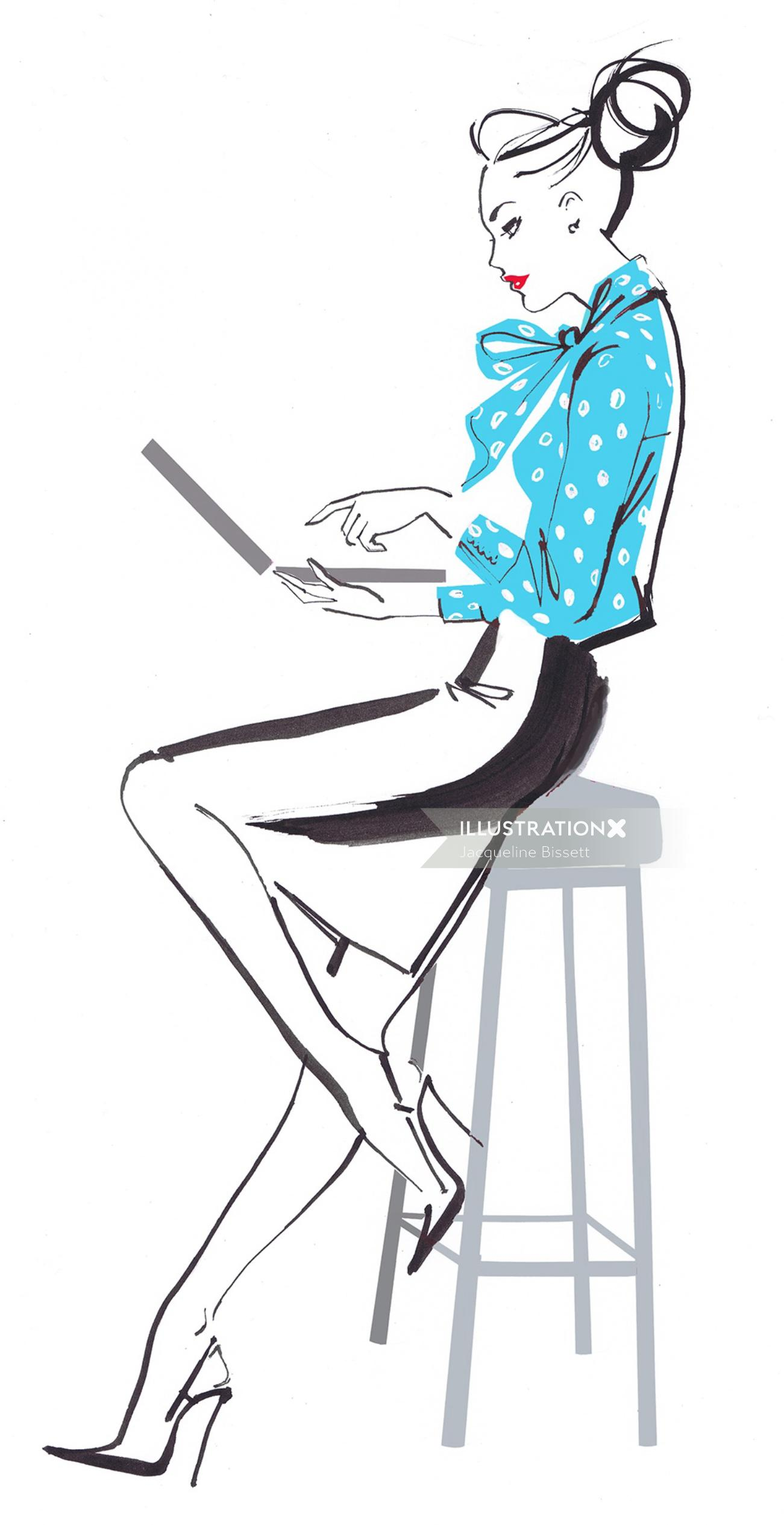 Illustration of lady with laptop