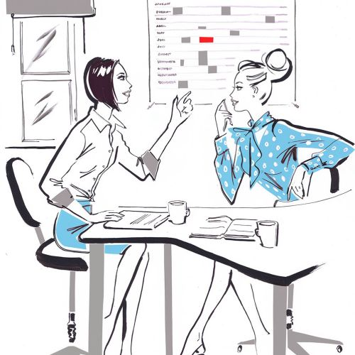 Two business women talking - Illustration