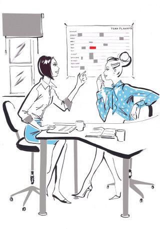 Two business women talking - Illustration