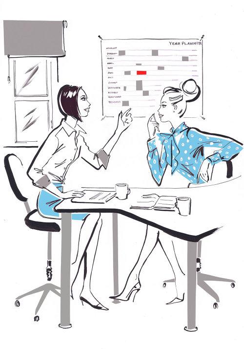 Deux femmes d'affaires parler - Illustration