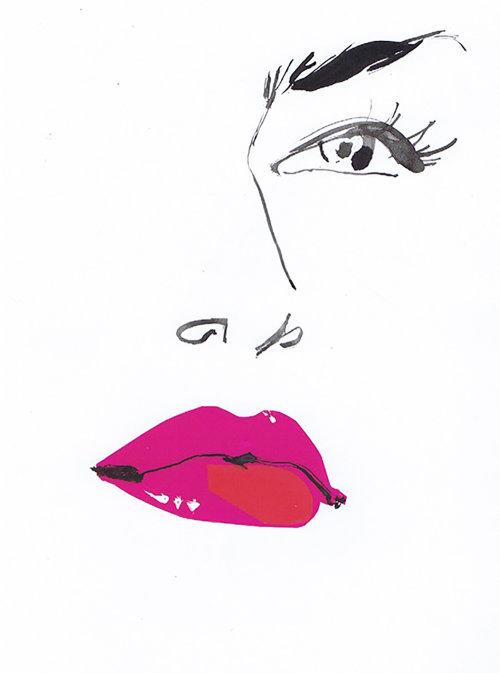 Illustration des yeux et des lèvres roses
