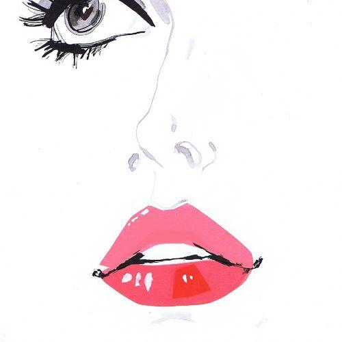 Illustration of eye and lips