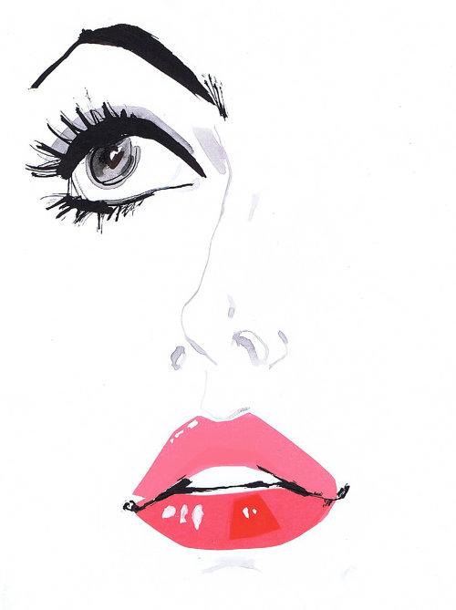 Illustration des yeux et des lèvres