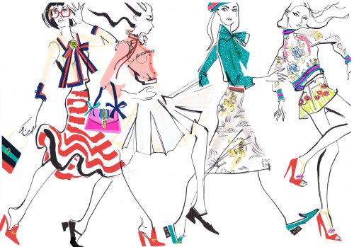 Illustration pour les collections Gucci 2016