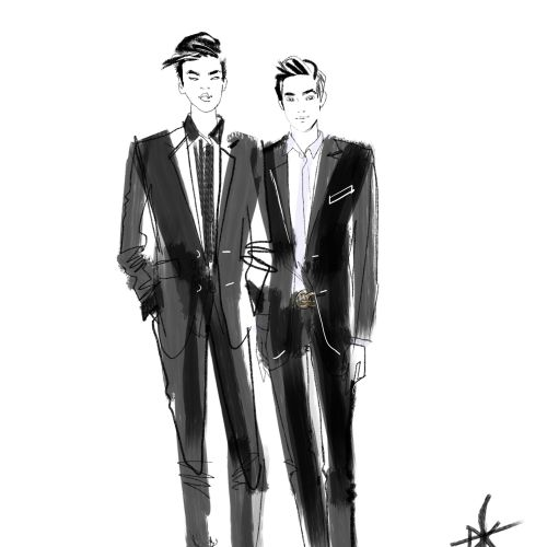 Emporio Armani men in suit drawing