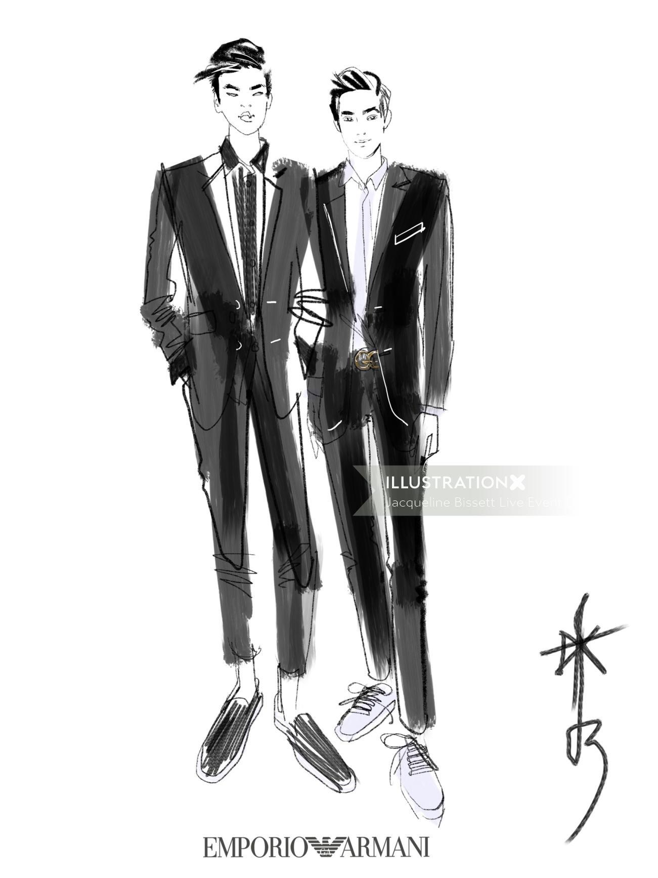 Emporio Armani men in suit drawing
