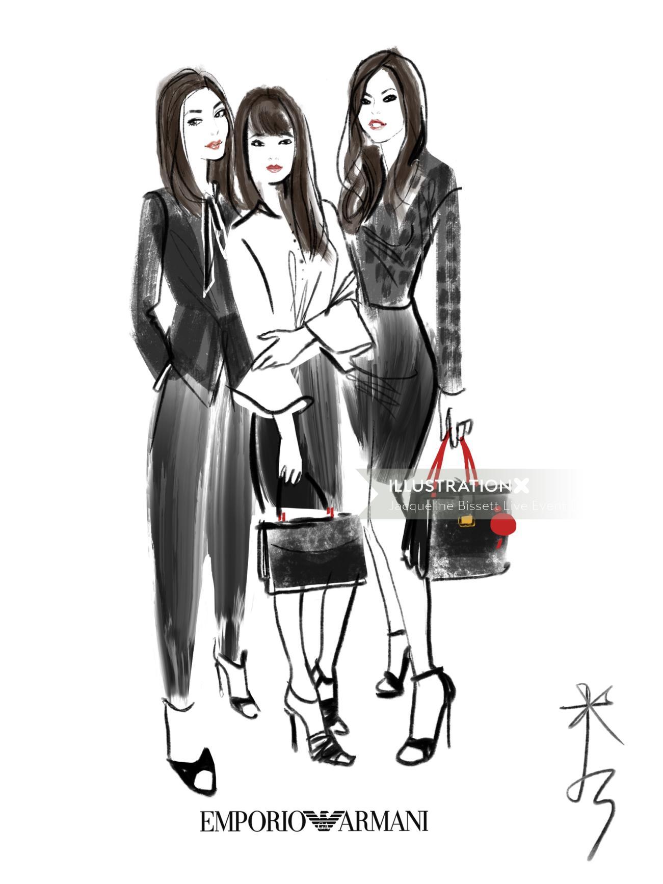 Emporio Armani fashion drawing