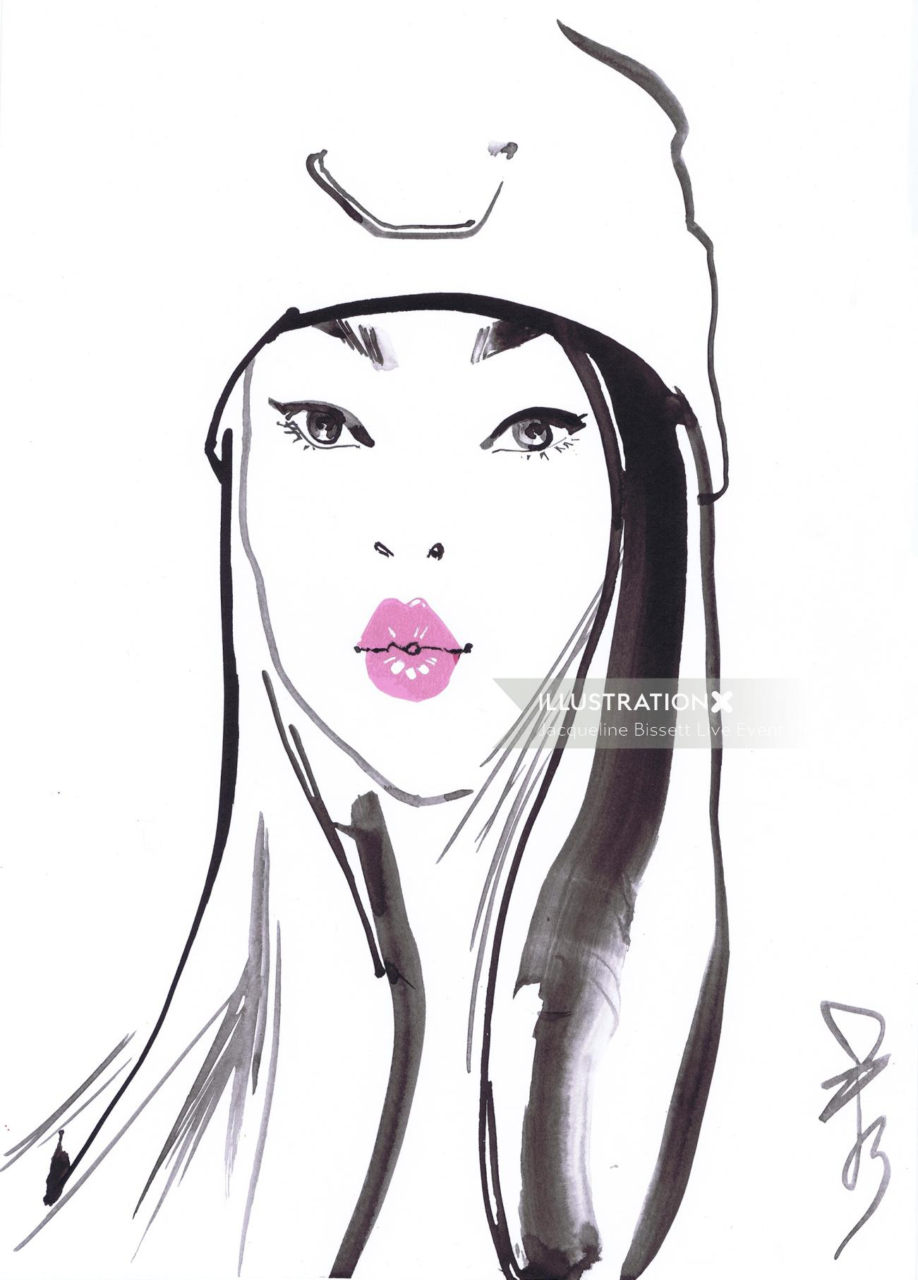 Live event drawing of woman with pink lipstic