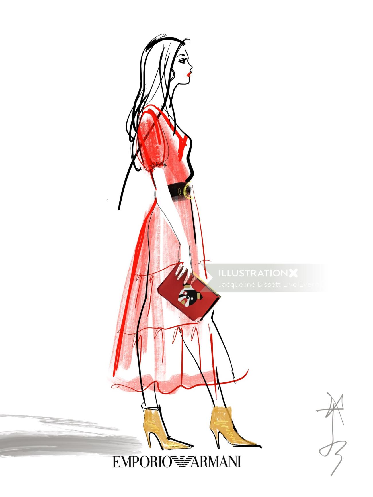 Emporio Armani Model with red dress