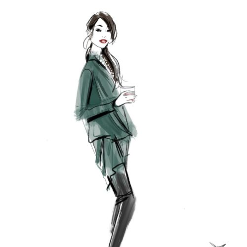 Emporio Armani model with green dress