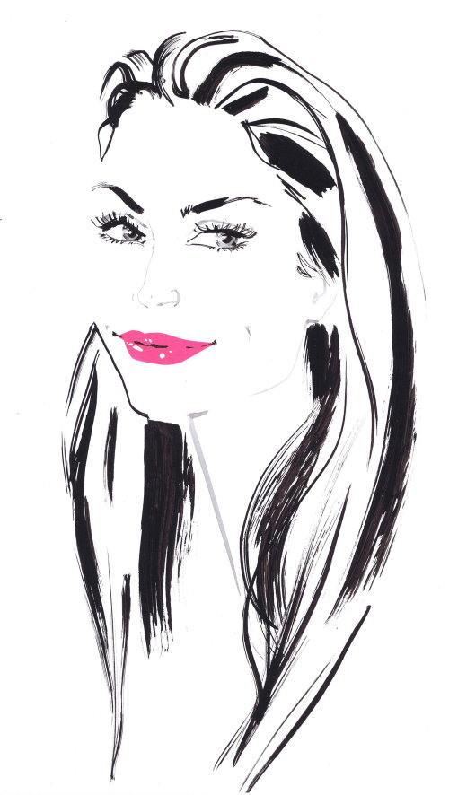 Live event drawing of beauty with pink lipstick