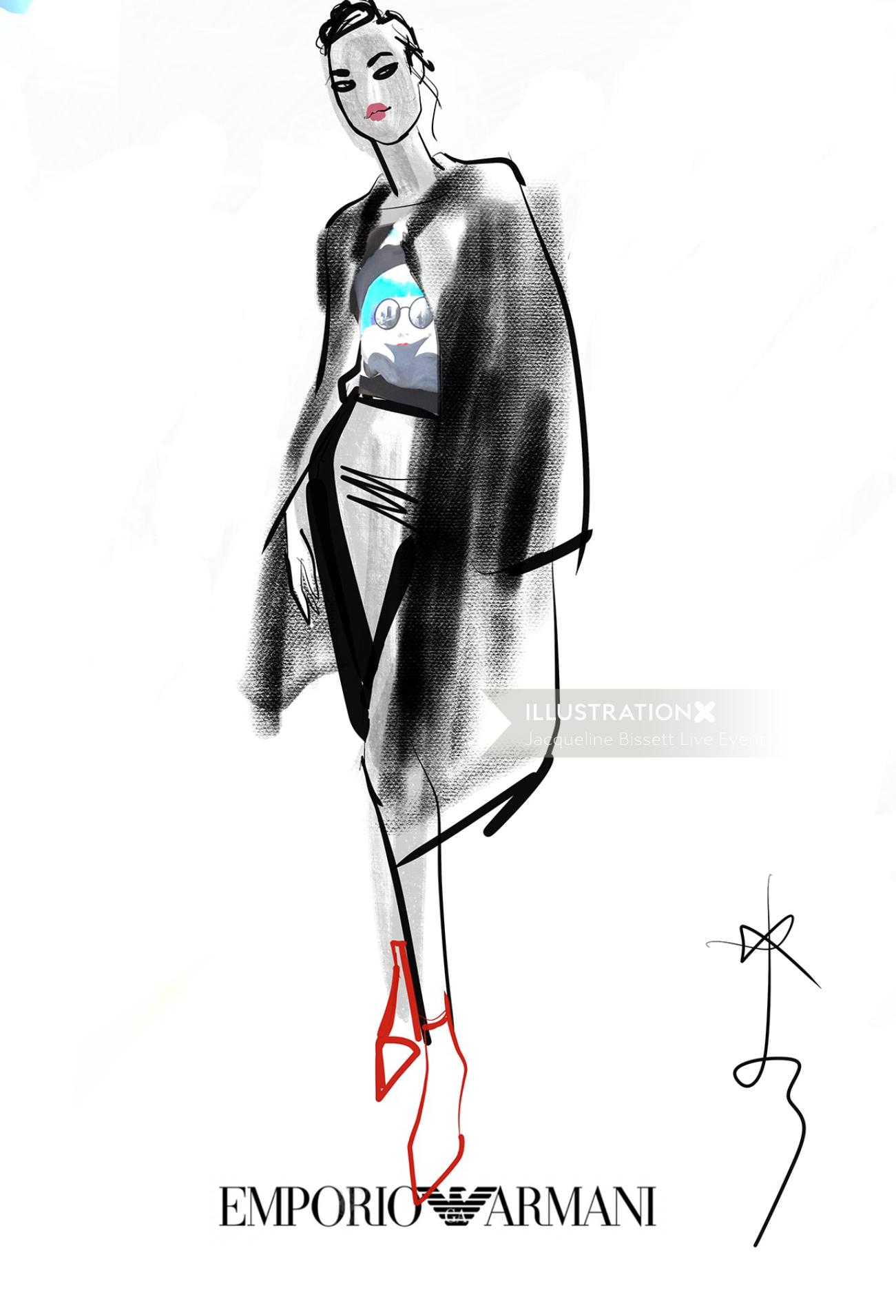 Fashion drawing of woman