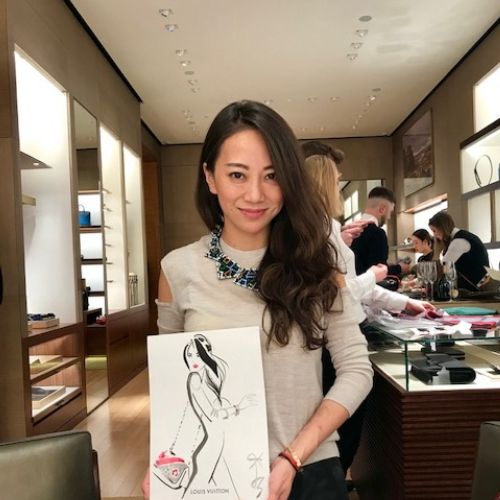 Beauty woman posing with her drawing