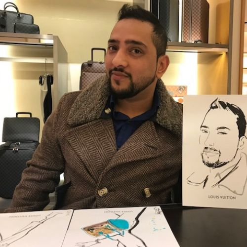 Portraits of Man posing with drawing