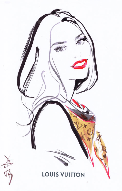 Louis Vuitton live drawing of model