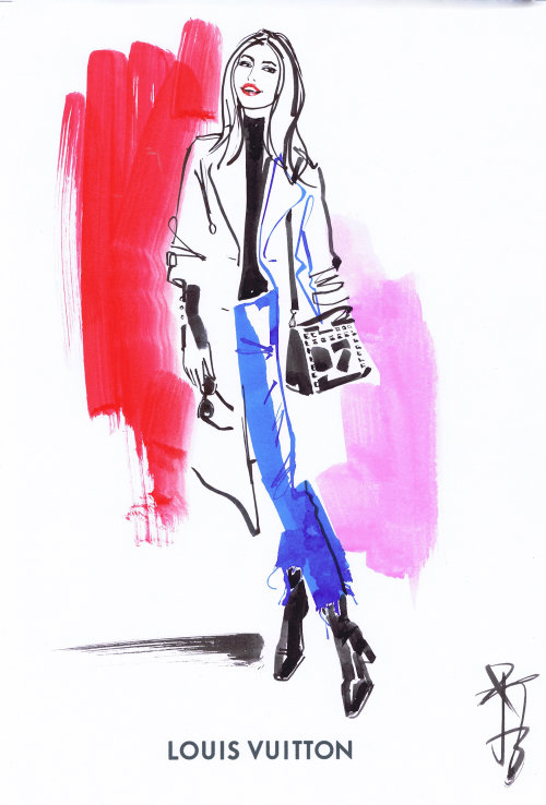Fashion illustration of woman with bag