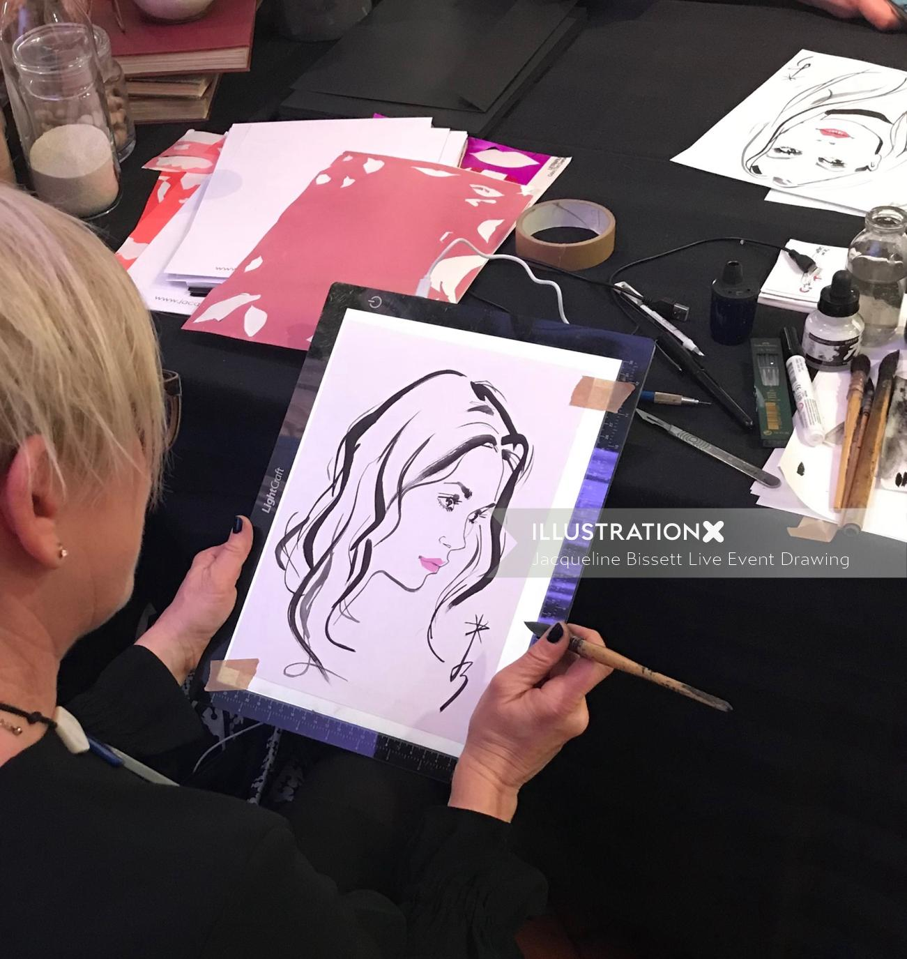 Live event drawing with Private Drama by Jacqueline Bissett
