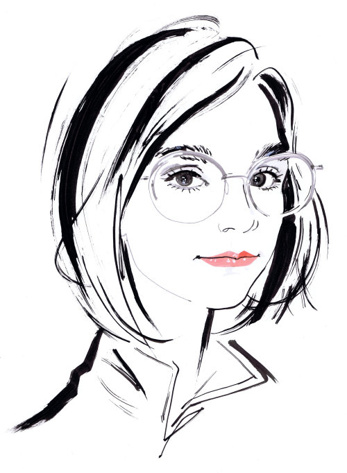 Fashion illustration of girl with glasses