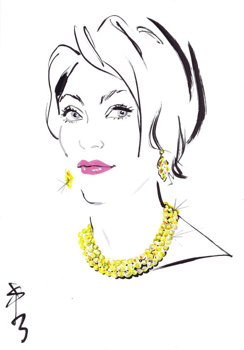 Live event drawing of model with jewellery