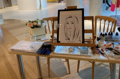 Photograph of live event with drawing