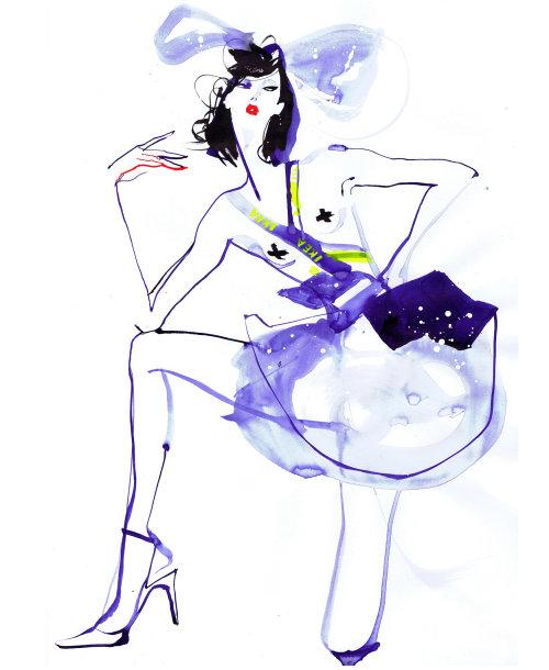 Fashion Model in stylish purple dress