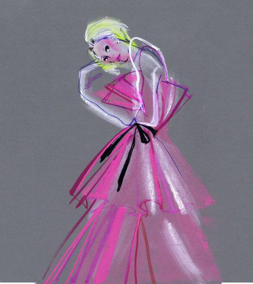 Fashion model in pink dress