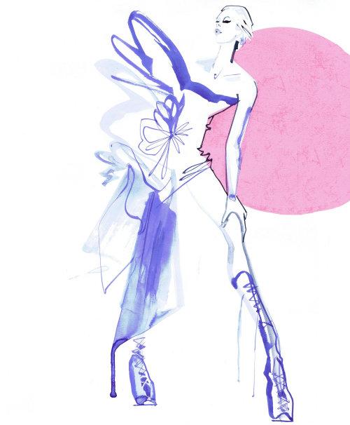 Fashion Model in purple wear