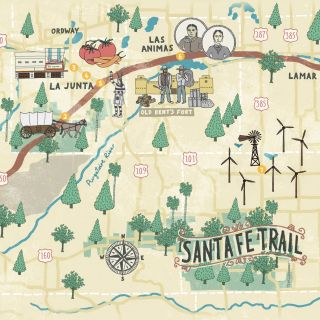 Santa Fe Trail Route Map Illustration
