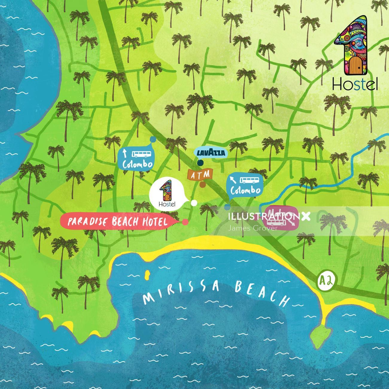 Maps Mirissa Beach