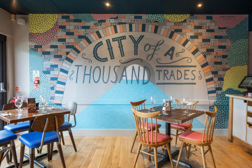 City of a thousand trades mural for Zizzi