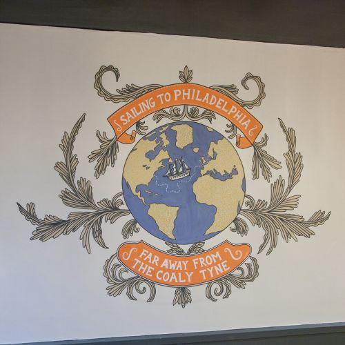 Globe mural art