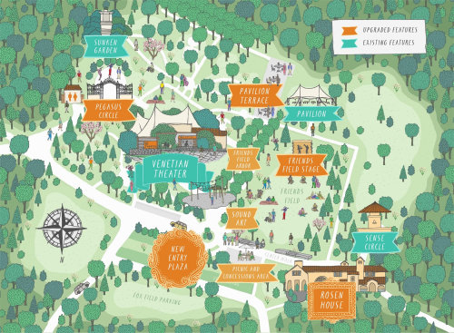 Map illustration of Caramoor Music Venue in New York
