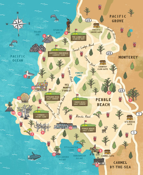Pebble beach map illustration