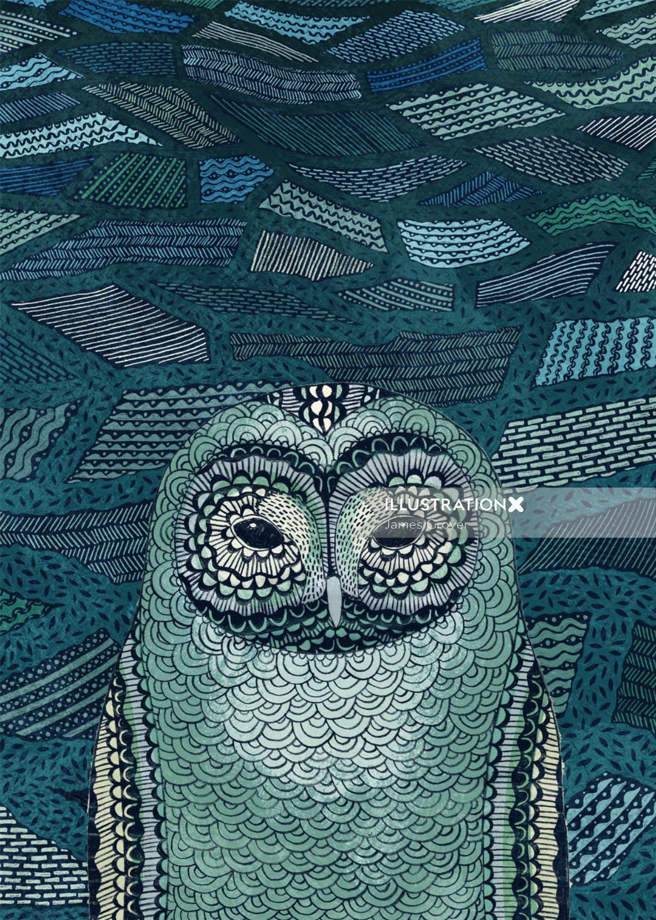 Owl in Moonlight pencil art