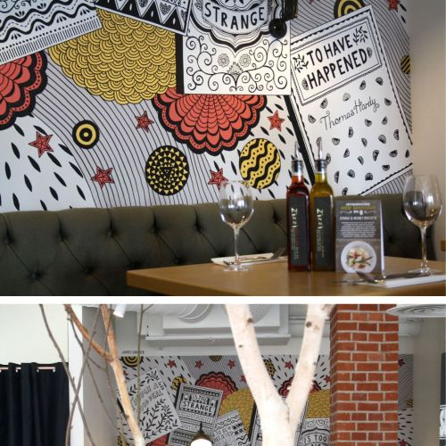 Decorative wall painting in restaurant