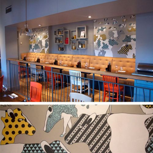 Cattle Mural Illustration For Zizzi Restaurant