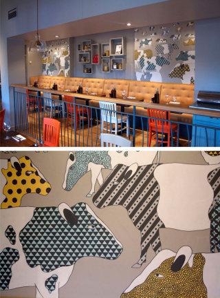Cattle Mural Illustration For Zizzi Restaurant