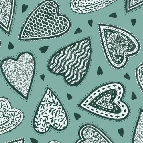 Bob & Snooze Decorative Hearts Fabric Design
