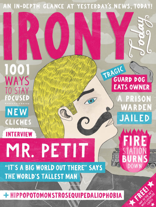 Irony today pencil drawn magazine cover