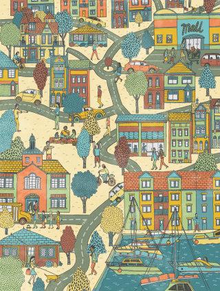 City Map Illustration For Baltimore Magazine