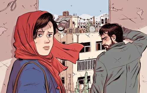 Magazine cover art of Iranian film 'The Salesman' for New Yorker magazine