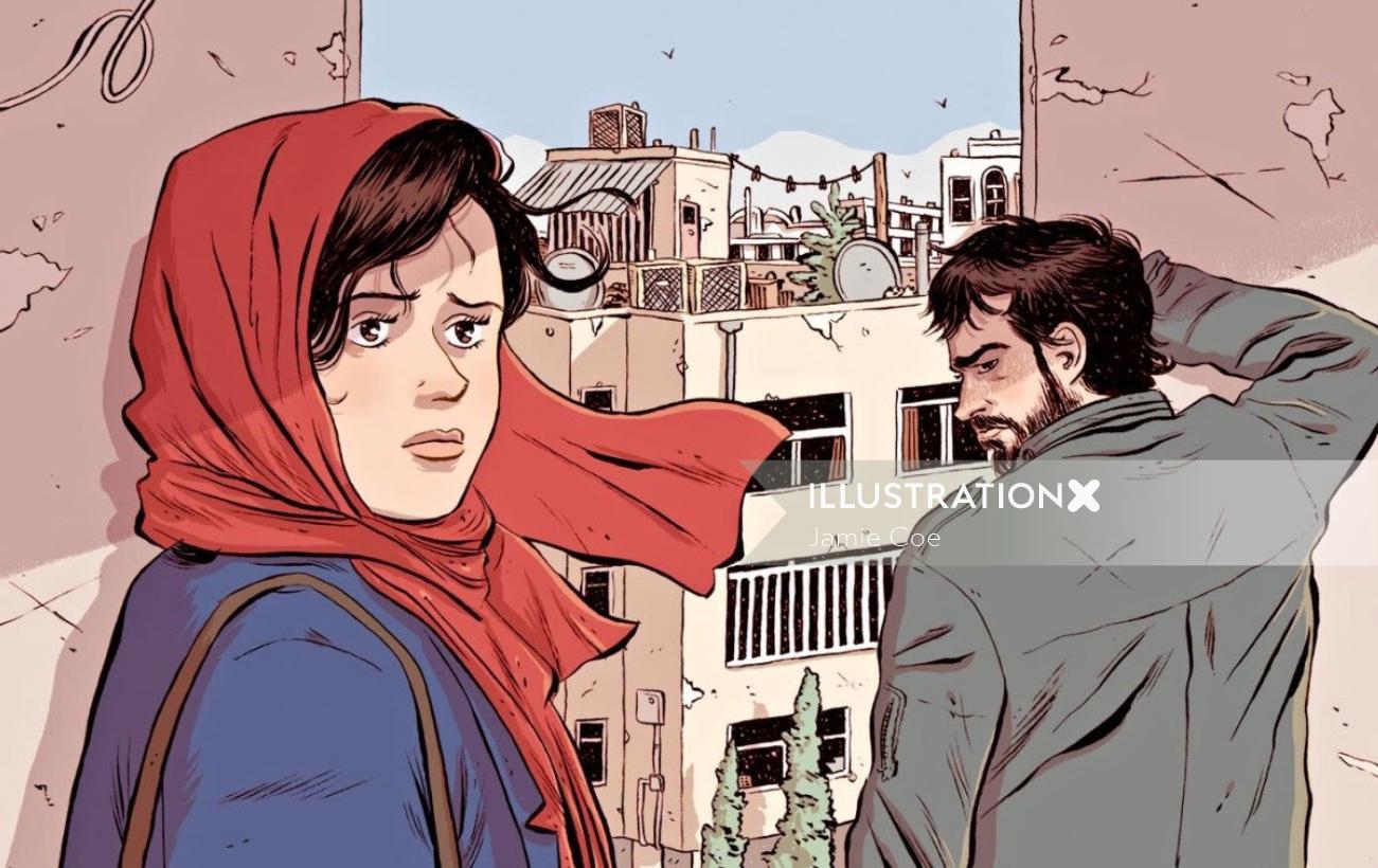 Magazine cover art of Iranian film 'The Salesman' for New Yorker magazine