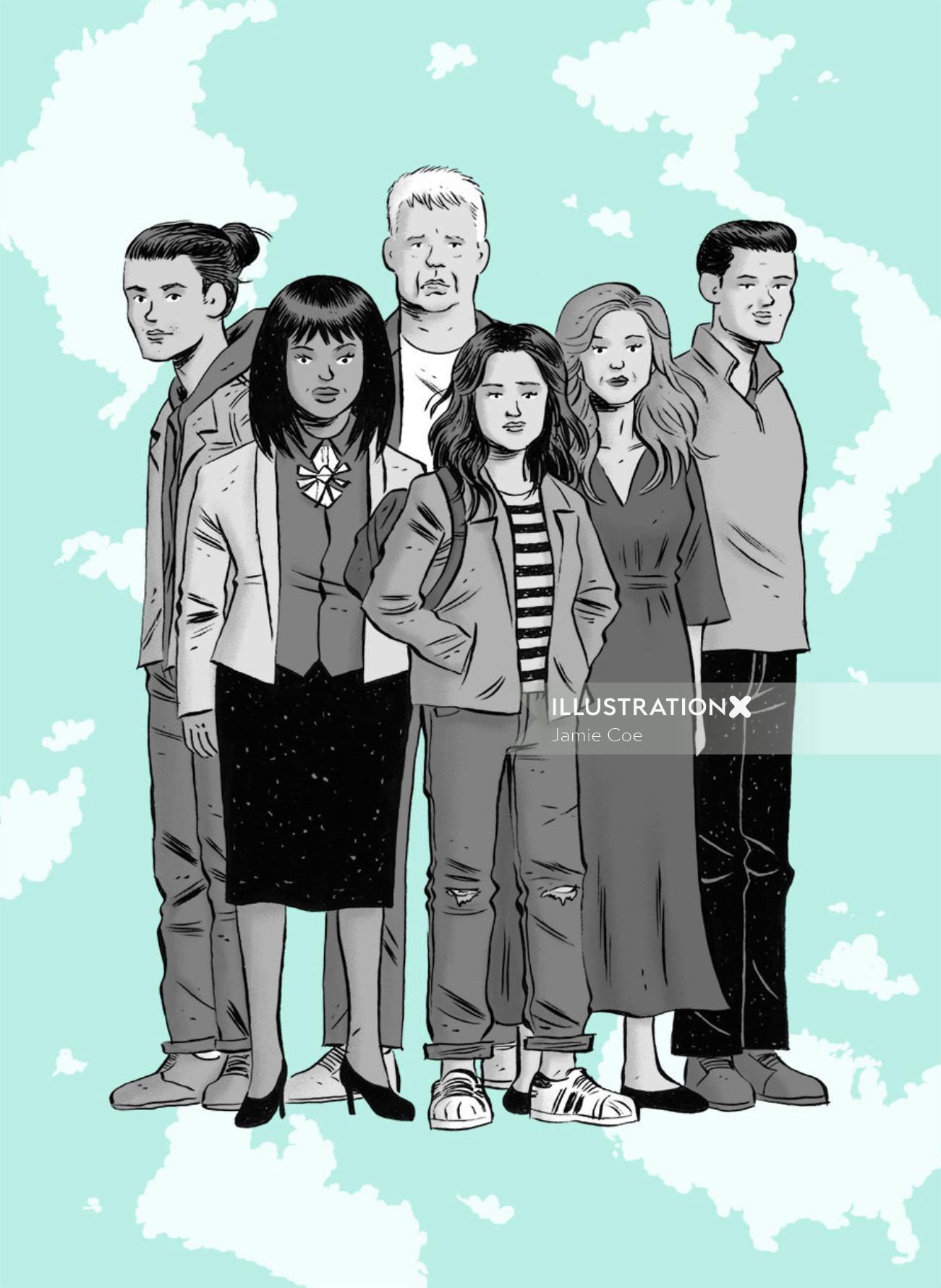 Editorial illustration of family for New York Magazine