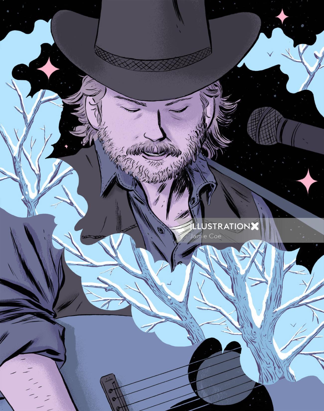Male singer graphic portrait illustration