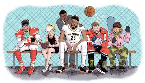 Ilustración de jugadores de béisbol para la revista ESPN