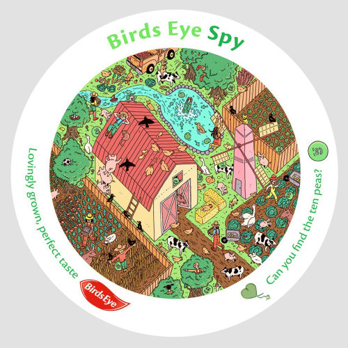 Graphic design of birds eye spy