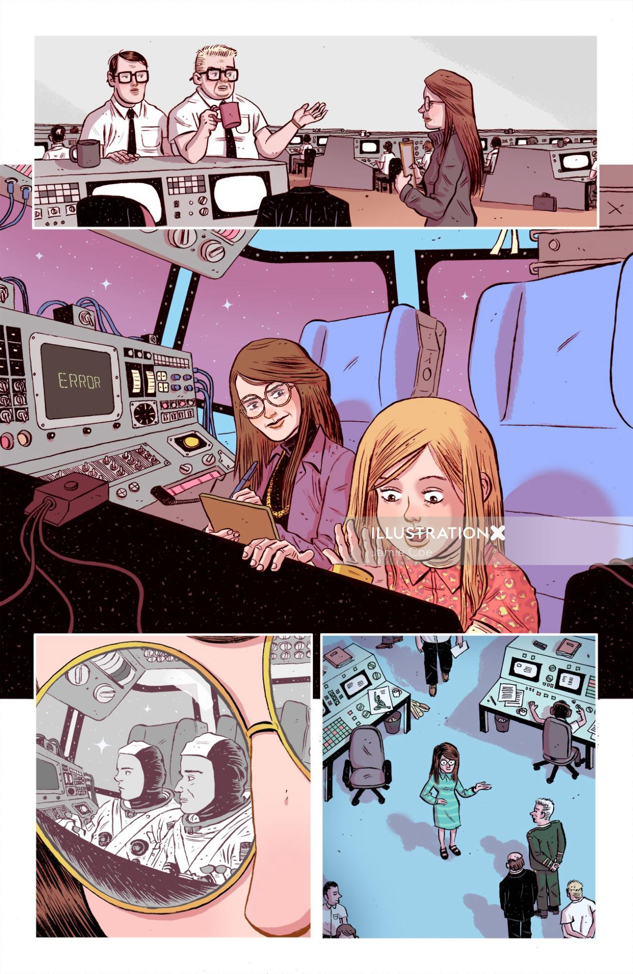 Comic art of space station